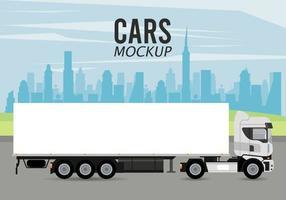 icono de vehículo de coche de maqueta de camión vector