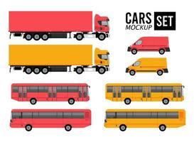 maqueta set colores coches vehículos transporte iconos vector