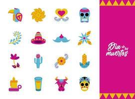 bundle of sixteen dia de los muertos set icons vector