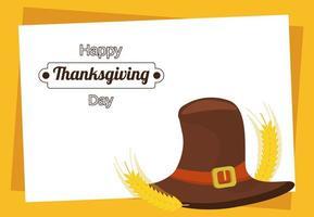 cartel de feliz día de acción de gracias con sombrero de peregrino y púas vector