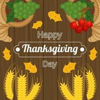 Cartel de feliz día de acción de gracias con picos y frutas en fondo de madera vector