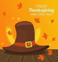 Cartel del feliz día de acción de gracias con sombrero de peregrino y picos en la mesa de madera vector