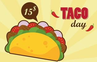 taco day celebration mexican poster with price tag vector