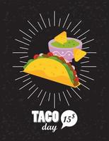 taco day celebration mexican poster with nachos and guacamole sauce vector