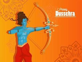 Tarjeta de celebración feliz dussehra con carácter rama azul en fondo naranja vector
