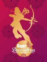 tarjeta de celebración feliz dussehra con dios dorado rama y letras vector