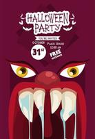halloween horror party celebration poster with monster mouth and eyes vector