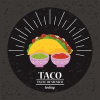 taco day celebration poster with tomato and guacamole sauces vector