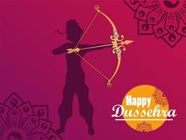tarjeta de celebración feliz dussehra con dios rama sombra y letras vector