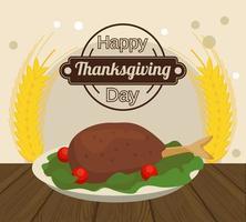 cartel de feliz día de acción de gracias con comida de pavo y picos vector