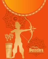 tarjeta de celebración feliz dussehra con dios dorado rama y bolsa de flechas vector
