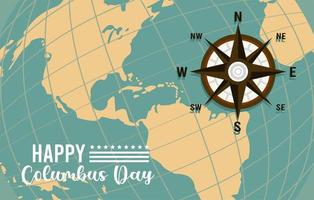 happy columbus day celebration with compass guide and american continent vector