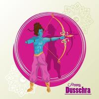 Tarjeta de celebración feliz dussehra con carácter rama azul en marco morado vector