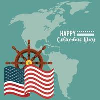 feliz celebración del día de colón con timón de barco y mapa del continente americano vector