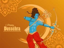 Tarjeta de celebración feliz dussehra con rama azul sobre fondo amarillo vector