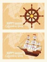 feliz celebración del día de colón con timón de barco y carabela vector