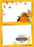 cartel de feliz día de acción de gracias con frutas en marcos de cuerno y picos vector