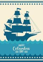 feliz celebración del día de colón con barco y letras vector