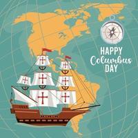 feliz celebración del día de colón con mapas de barcos y continentes americanos vector