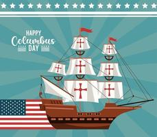 Feliz celebración del día de colón con velero y bandera de EE. UU. vector