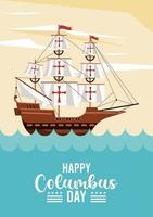 feliz celebración del día de colón con velero y escena del océano vector