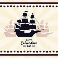 feliz celebración del día de colón con sombras de veleros vector