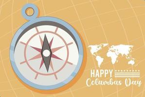 feliz celebración del día de colón con guía de brújula y continentes vector