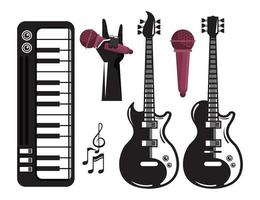 international music festival poster with electric guitars and set icons vector