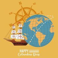 feliz celebración del día de colón con velero y brújula vector