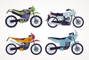 bundle of motorcycles style vehicles icons vector
