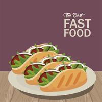burritos mexicanos en plato delicioso icono de comida rápida vector