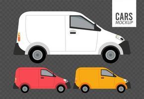 mini vans mockup cars vehicles icons vector