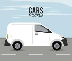 Vehículo de coche de maqueta de mini van en la carretera vector