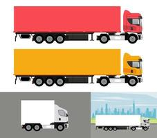 white and colors trucks mockup cars vehicles icons vector