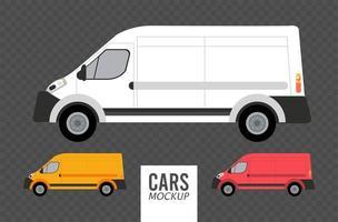vans mockup cars vehicles icons vector