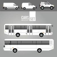 white buses and mini vans mockup cars vehicles icons vector