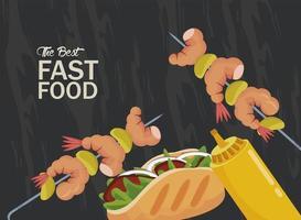 Brochetas de camarones y burrito con mostaza deliciosa comida rápida vector