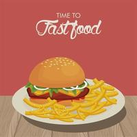 hamburger and french fries in dish delicious fast food vector