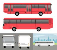 white and red buses mockup cars vehicles icons vector