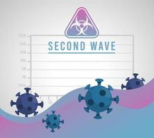 covid19 virus pandemic second wave poster with particles and biohazard signal vector