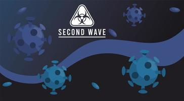 covid19 virus pandemic second wave poster with particles and biosafety sign in blue background vector