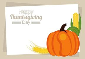 happy thanksgiving day lettering with pumpkin and corn cob vector