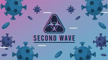covid19 virus pandemic second wave poster with particles and biohazard sign vector