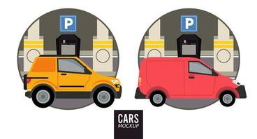 mini van and camper mockup cars vehicles icons vector