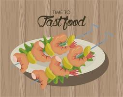 Brochetas de camarón en plato delicioso icono de comida rápida vector