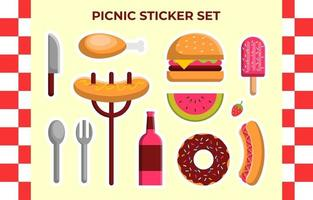Picnic Sticker Vector Collection Set