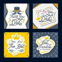 Parents Day Greeting Card Set vector