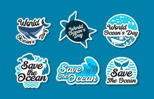 World Ocean Day Sticker Set vector