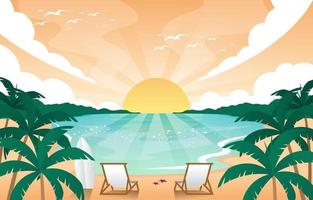 Sunset on the Beach Summer Scenery Background vector