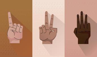 bundle of three hands humans symbols gestures icons vector